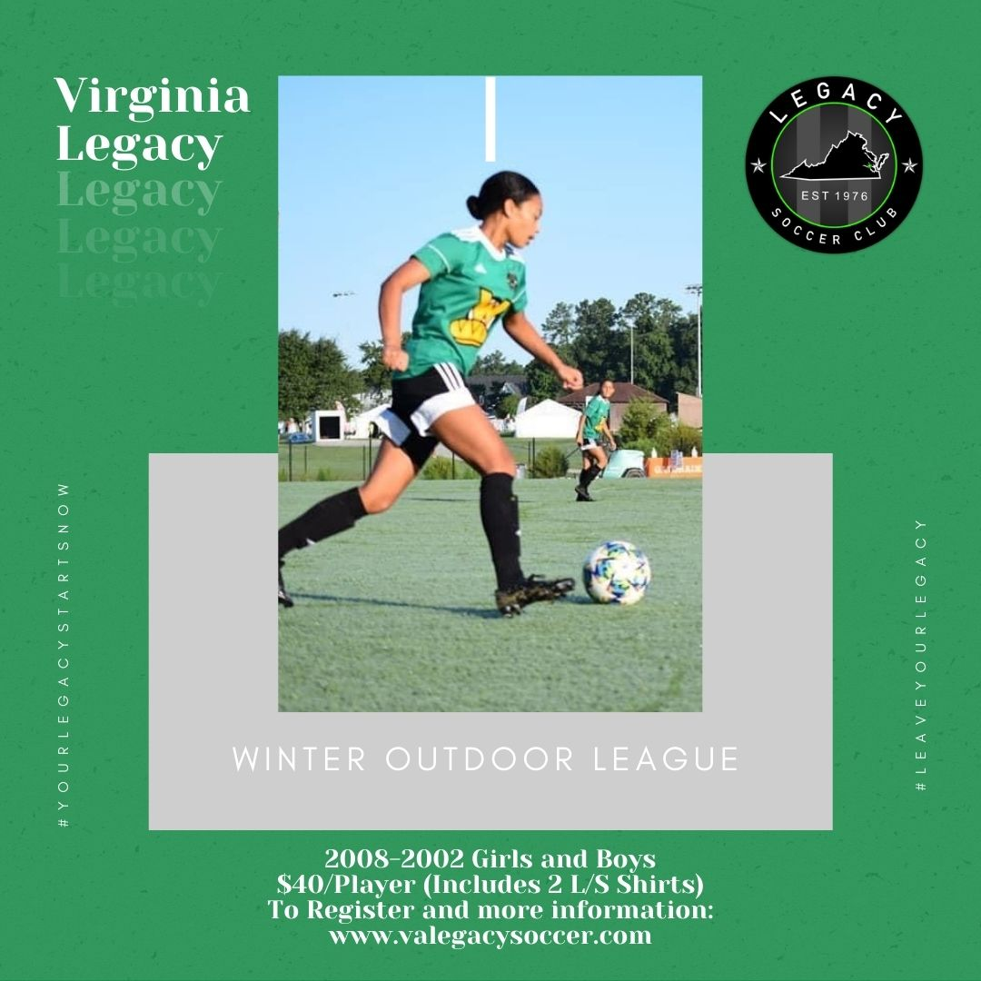 Virginia Legacy Announces Outdoor Winter League for 2008-2002 Players